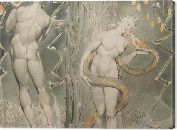 Leinwandbild William Blake - Evas Versuchung und Sündenfall - Reproduktion
