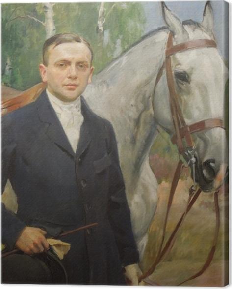 Leinwandbild Wojciech Kossak - Porträt von Bronisław Krystall mit einem Pferd - Reproductions