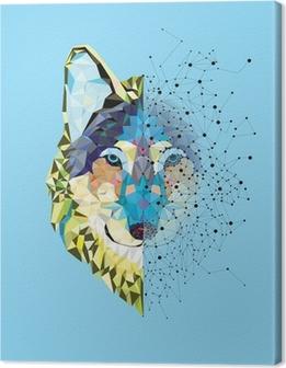 Leinwandbild Wolf Kopf in geometrische Muster mit Sternlinienvektor