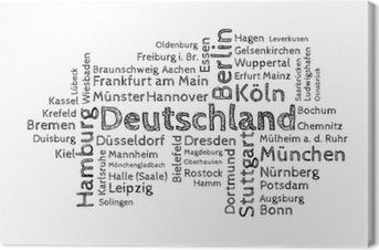 Leinwandbild Wordcloud - 50 deutsche Großstädte sw