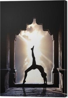 Leinwandbild Yoga Silhouette in Tempel