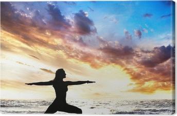 Leinwandbild Yoga Silhouette Krieger II stellen