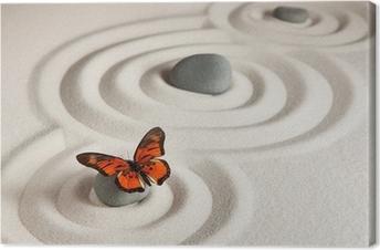 Leinwandbild Zen Felsen mit Schmetterling