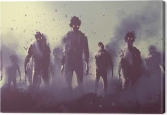 Leinwandbild Zombie-Menge in der Nacht zu Fuß, Halloween-Konzept, Illustration,