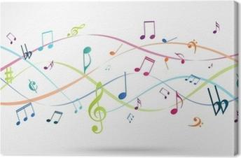 Leinwandbild Zusammenfassung Hintergrund mit bunten Musiknoten