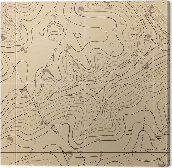 Lerretbilde Abstrakt Retro Topografi Kart Bakgrunn - Ferie og Høytid