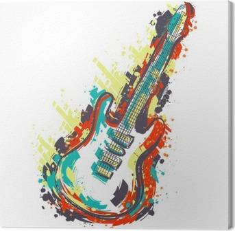 Lerretbilde Elektrisk gitar. Hånd trukket grunge stil kunst. Retro banner, kort, t-skjorte, pose, print, poster.Vintage fargerike hånd trukket vektor illustrasjon