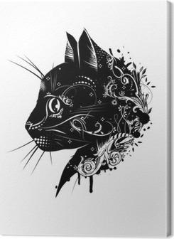 Lerretbilde En floral verzierter Kopf einer Katze.Katzenkopf im Scherenschnitt stil