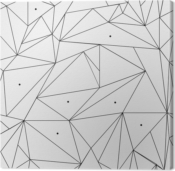 Lerretbilde Geometrisk enkelt svart og hvitt minimalistisk mønster, trekanter eller farget glass. Kan brukes som bakgrunn, bakgrunn eller tekstur. - Grafiske Ressurser