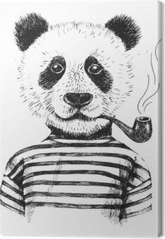 Lerretbilde Håndtegnet Illustrasjon av hipster panda