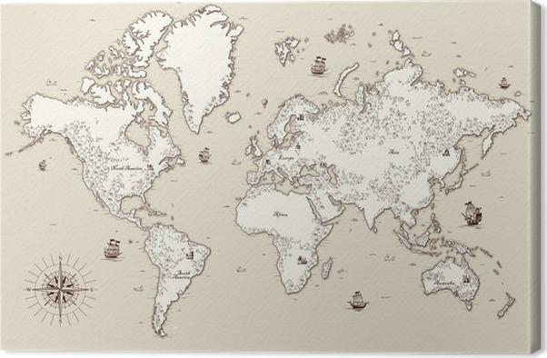 Lerretbilde Høyt detaljert, gammelt verdens kart med dekorative elementer - Reise