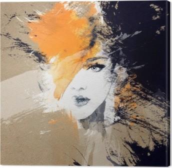 Lerretbilde Kvinne portrett. Abstrakt akvarell. Fashion bakgrunn