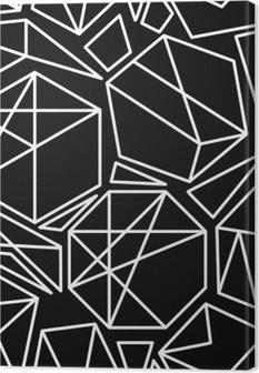 Lerretbilde Sort og hvitt vektor geometrisk sømløs mønster