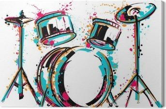 Lerretbilde Trommesett med sprut i akvarellstil. Fargerike hånd trukket vektor illustrasjon