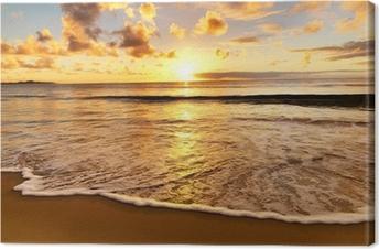 Lerretbilde Vakker solnedgang på stranden