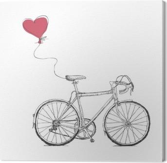 Lerretbilde Vintage Valentines Illustrasjon med sykkel og Heart Baloon