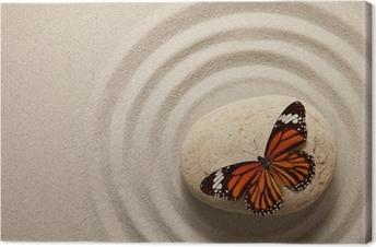 Lerretbilde Zen rock med sommerfugl