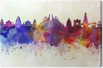 Lerretsbilde Bali skyline i akvarell bakgrunn