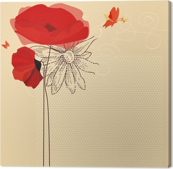 Lerretsbilde Blomster invitasjon, valmuer og sommerfugl vektor