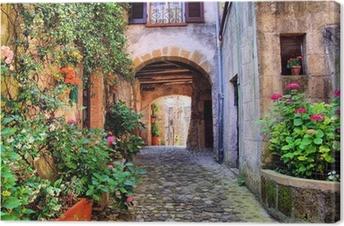 Lerretsbilde Buet brosteinsgate i en toskansk landsby, Italia