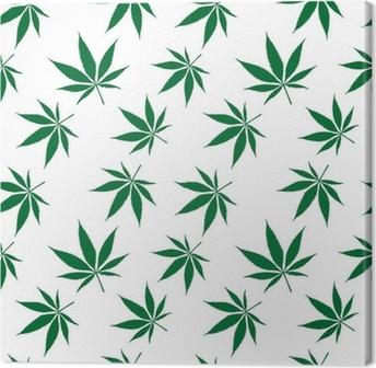 Lerretsbilde Cannabis sømløs mønster utvidet