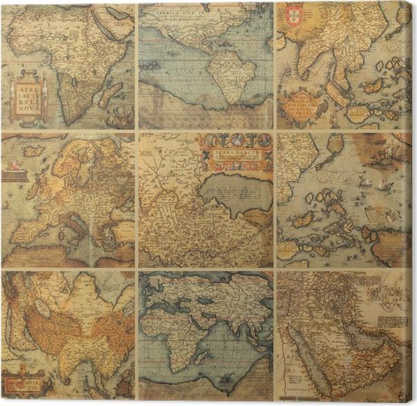 antikke kart Lerretsbilde Collage med antikke kart • Pixers®   Vi lever for  antikke kart