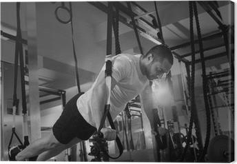 Lerretsbilde Crossfit fitness TRX push ups man trening