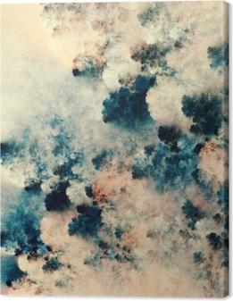 Lerretsbilde Digital abstrakt maleri av mørke teksturer som ligner fantasyskyger på en lys bakgrunn