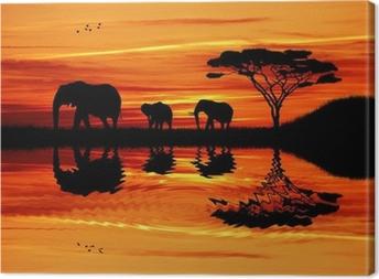 Lerretsbilde Elefant silhuett ved solnedgang