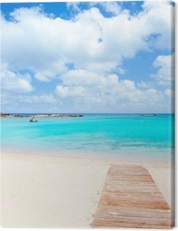 Lerretsbilde Els Pujols Formentera hvit sand turkis strand