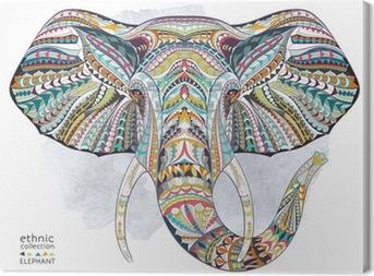 Lerretsbilde Etnisk mønstret hode av elefant på grunne bakgrunn / afrikansk / indisk / totem / tatovering design. Bruk for utskrift, plakater, t-skjorter.
