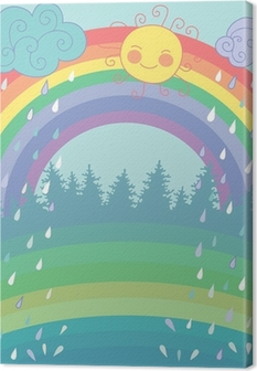 Lerretsbilde Fargerik bakgrunn med en regnbue, regn, sol i tegneserie stil