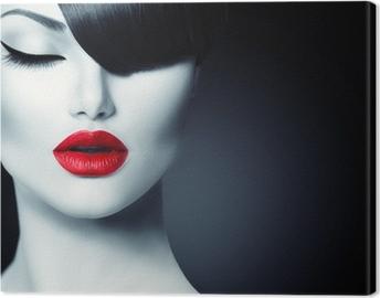 Lerretsbilde Fashion Glamour Beauty Girl With Trendy Fringe Frisyre