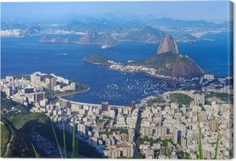 Lerretsbilde Fjellet Sugar Loaf og Botafogo i Rio de Janeiro