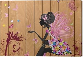 Lerretsbilde Flower Fairy på en trestruktur for design