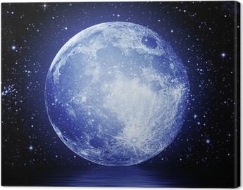 Lerretsbilde Fullmåne i natthimmelen reflekteres i vann