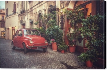 Lerretsbilde Gamle vintage kultbil parkert på gaten ved restauranten, i