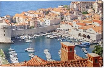 Lerretsbilde Gamlebyen Dubrovnik og marinaen