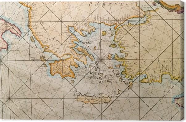kart kreta vest Lerretsbilde Gammelt kart over Hellas, Vest Tyrkia, Albany, Kreta  kart kreta vest