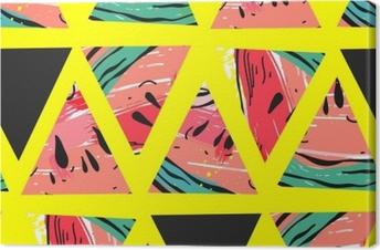 Lerretsbilde Hånd trukket vektor abstrakt collage sømløs mønster med vannmelon motiv og trekant hipster former isolert på farge background.unusual dekorasjon for bryllup, bursdag, mote stoff, lagre datoen.