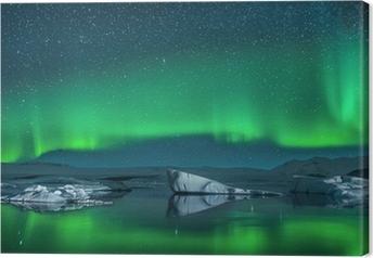 Lerretsbilde Isfjell under nordlys