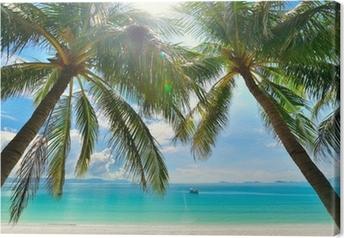 Lerretsbilde Island Paradise - Palmer henger over en sandstrand