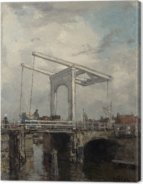 Lerretsbilde Jacob Maris - En vindebro i en hollandsk by - Reproductions