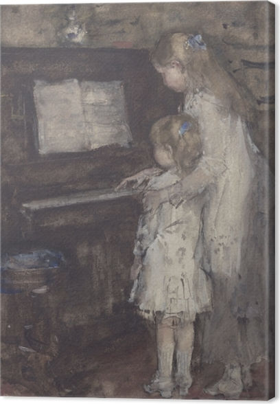 Lerretsbilde Jacob Maris - Jacob Maris døtre på klaveret - Reproductions