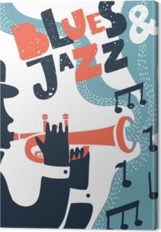 8b6080fd Lerretsbilde Jazz musikk, vektor plakat bakgrunnsmal. Illustrasjon av en  mann som spiller trompet.