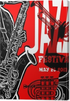 Lerretsbilde Jazz plakat med saxofonist