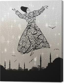 Lerretsbilde Kalligrafi dervish og istanbul moskeer
