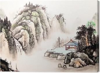 Lerretsbilde Kinesisk landskap akvarell maleri