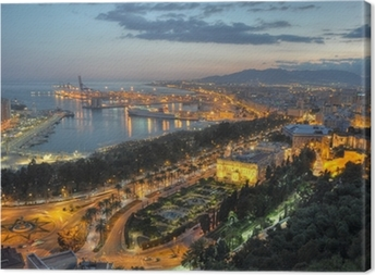 Lerretsbilde Malaga bylys - luftfoto