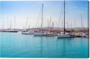 Lerretsbilde Marina havn i Palma de Mallorca på Balearene
